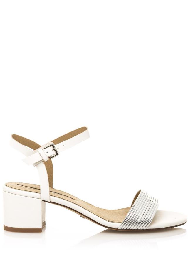 Bílé sandály na širokém nízkém podpatku Maria Mare