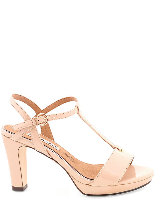 Krémové sandály na podpatku MARIA MARE