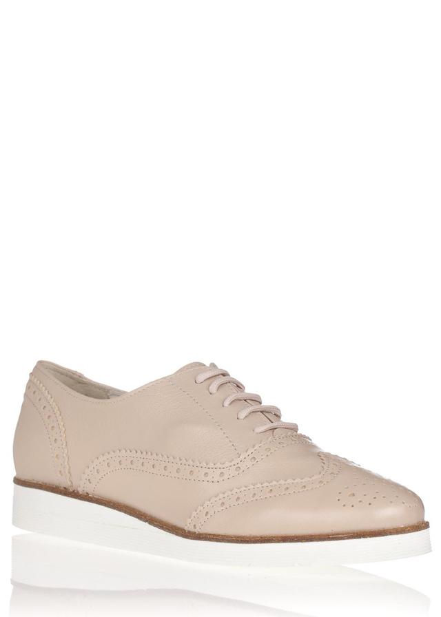 Béžové kožené boty na bílé podrážce María Jaén - 40