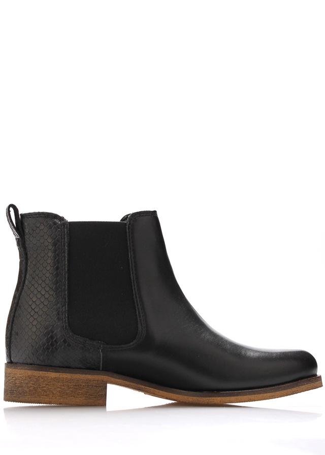 Černé kožené boty pérka Online Shoes - 42