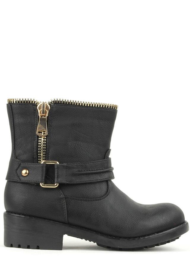 Stylové zipové černé kotníkové boty Claudia Ghizzani