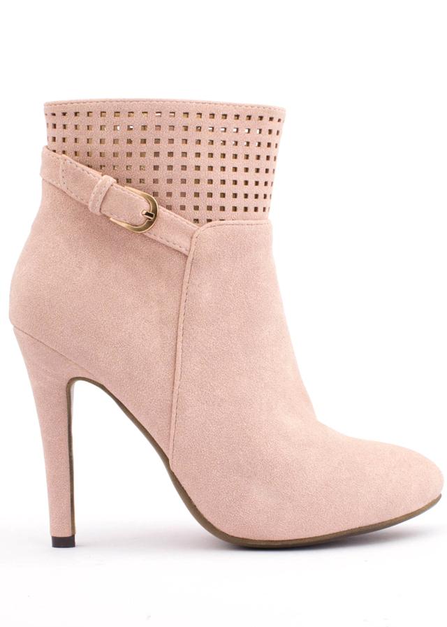 Italské růžové děrované boty na podpatku Trendy too