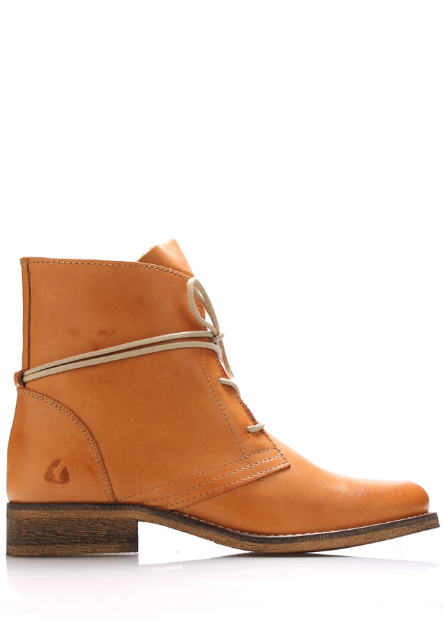 Světle hnědé kožené boty s tkaničkami Online Shoes