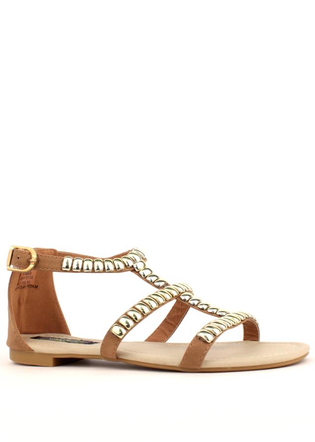 7f74f794b0 Park Lane Shoes Béžové kožené sandály Park Lane se zlatými cvoky