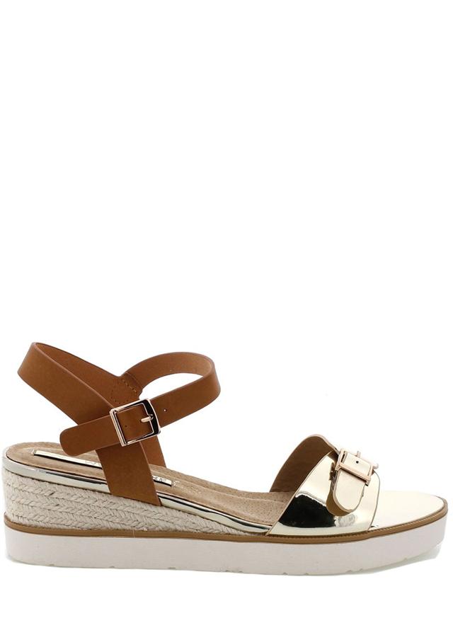 Zlaté sandálky na klínku MARIA MARE