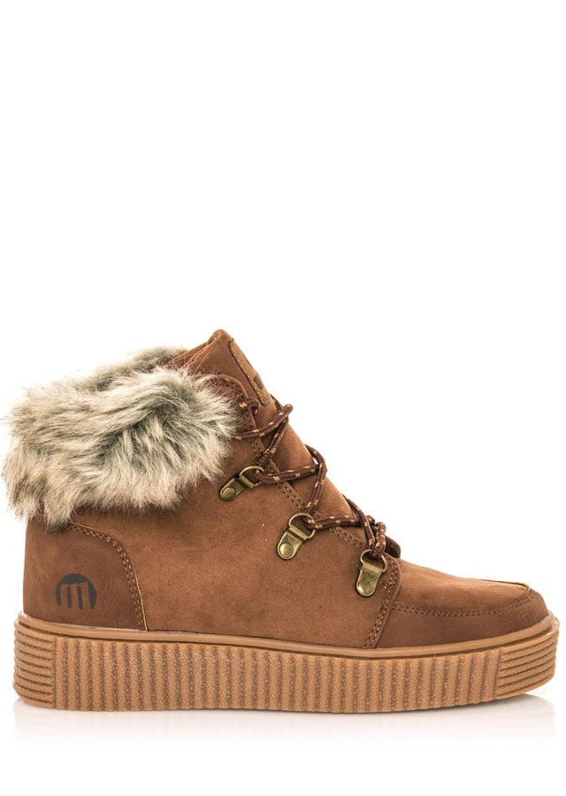 Hnědé zimní boty s kožešinou MTNG - 37