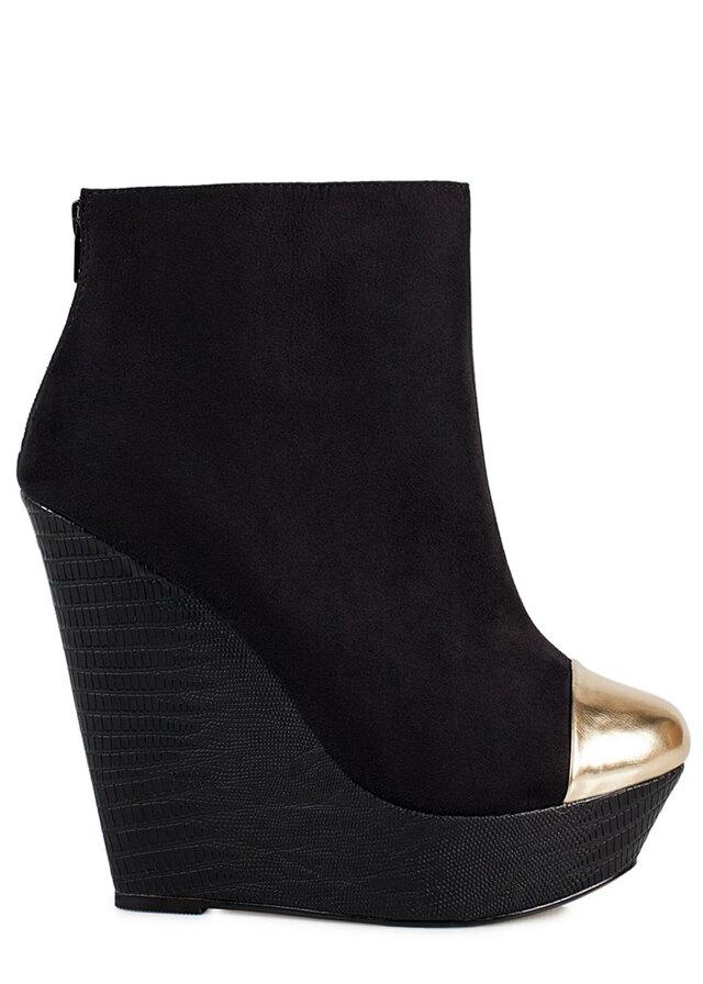 Černé kotníkové boty na klínku se zlatou špičkou Timeless - 40