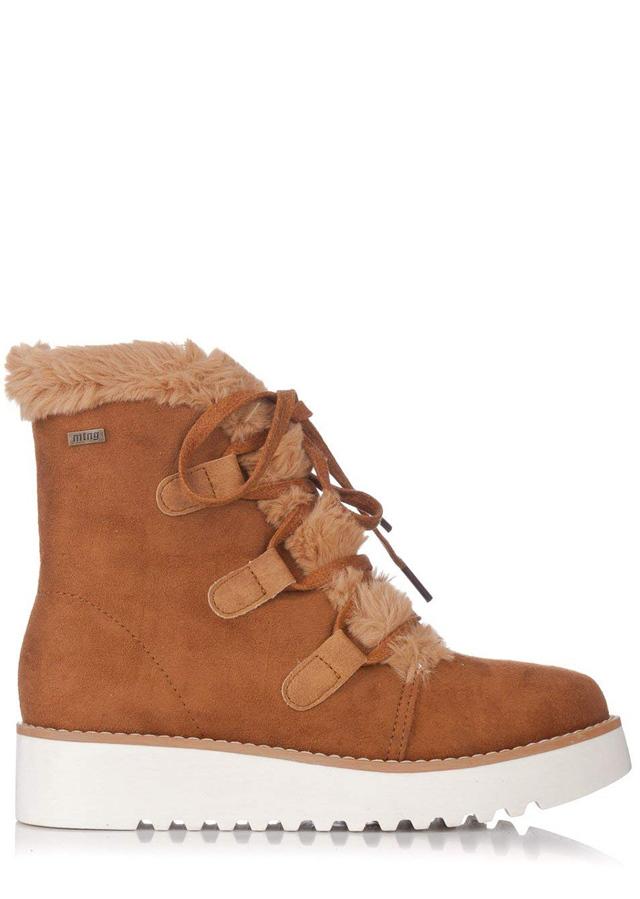 Hnědé zimní boty na nízkém klínku MTNG - 36