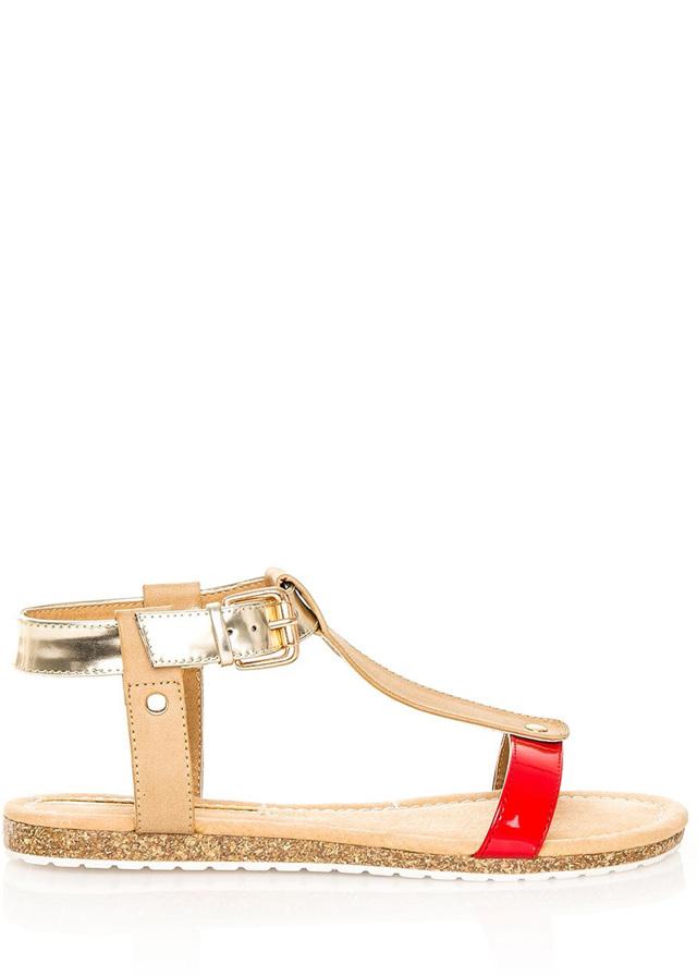 Červeno-zlaté korkové letní sandálky MARIA MARE - 41