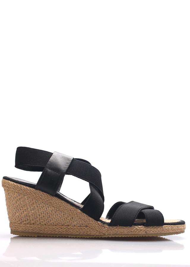 Černé sandály na slaměném klínku