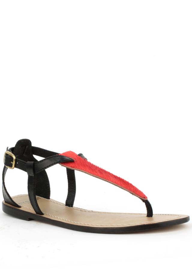 Sandály z pravé kůže s červeným pony vzorem Laceys