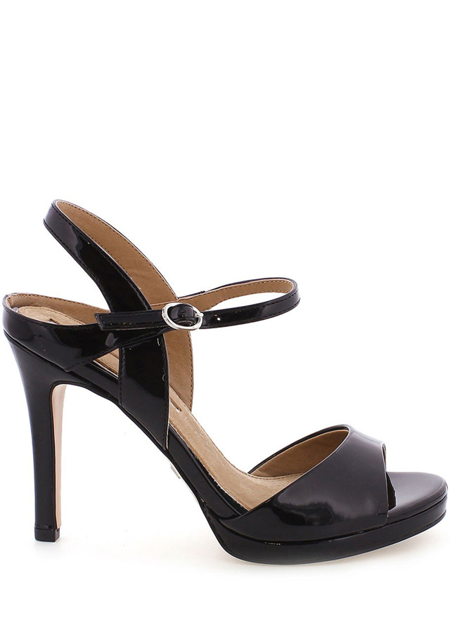 Černé lesklé sandály na podpatku MARIA MARE - 37
