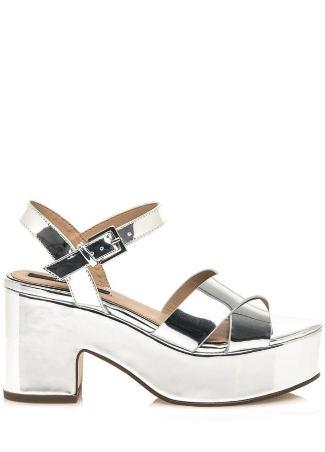 Stříbrné sandály s platformou MTNG