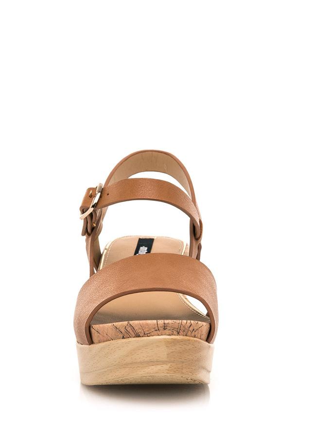 Hnědé letní sandály na dřevěné platformě MTNG(322552) - 3 237b5736b9