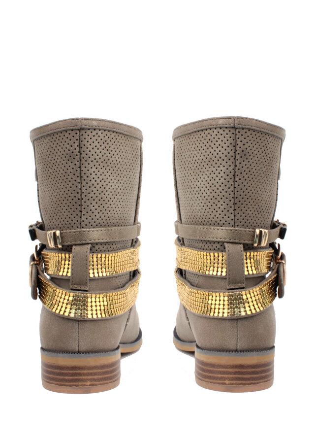 638ec62cba9 Hnědé letní kozačky s páskem H3 shoes(4216) - 3