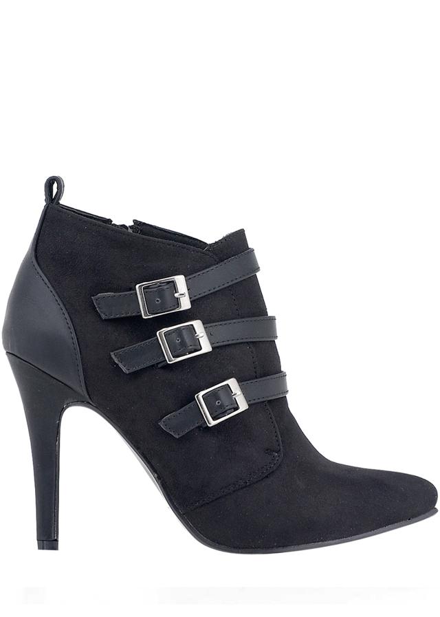 Černé boty na podpatku s pásky Alex Silva