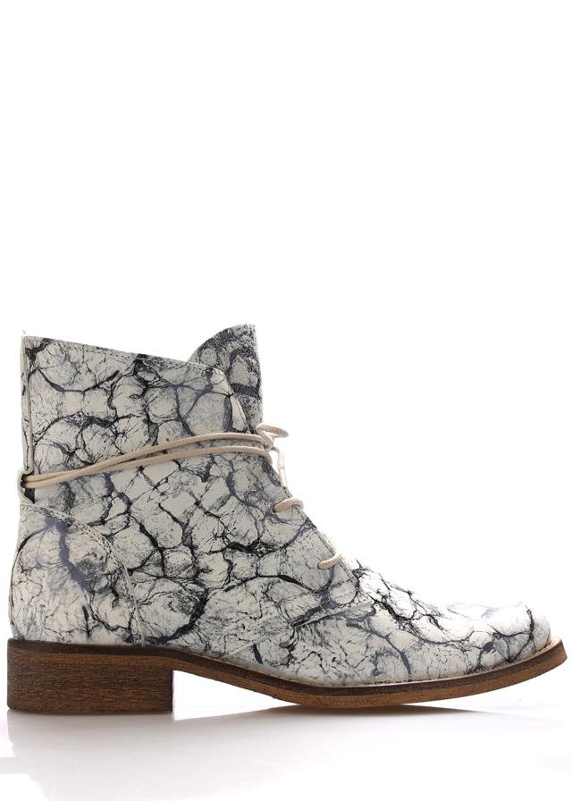 Kožené šněrovací boty se vzorem Online Shoes