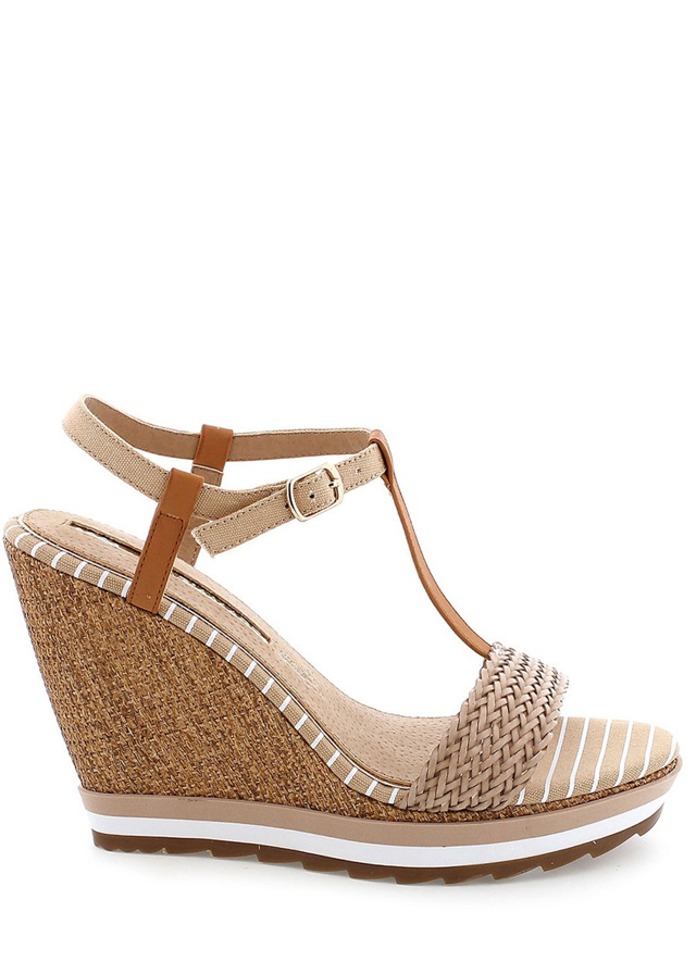 Béžové sandály na klínku MARIA MARE