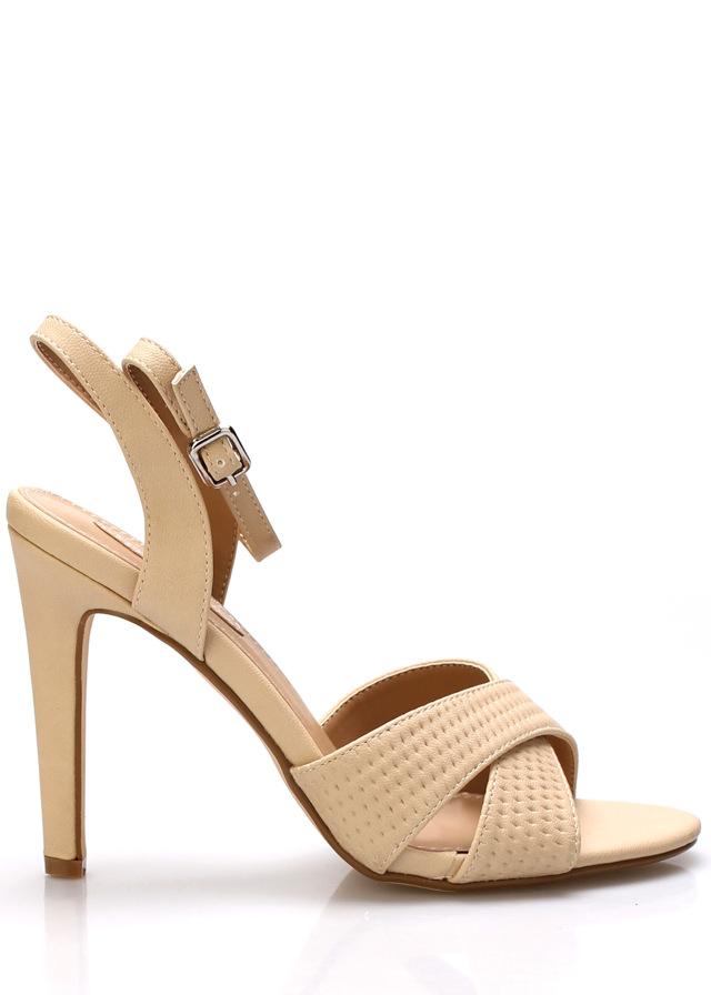 Béžové sandály na podpatku Trendy too