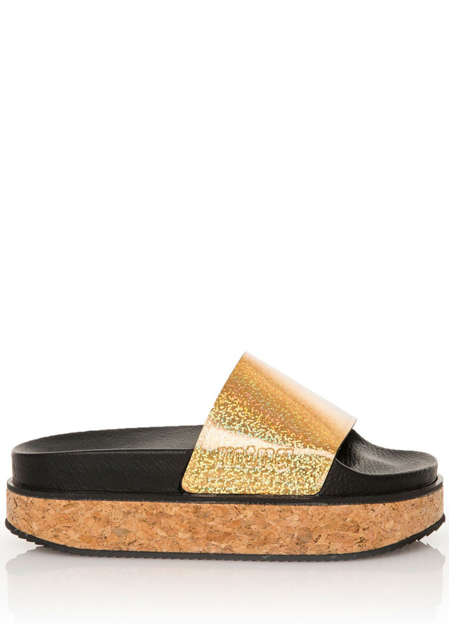 Zlaté pantofle na korkové platformě MTNG