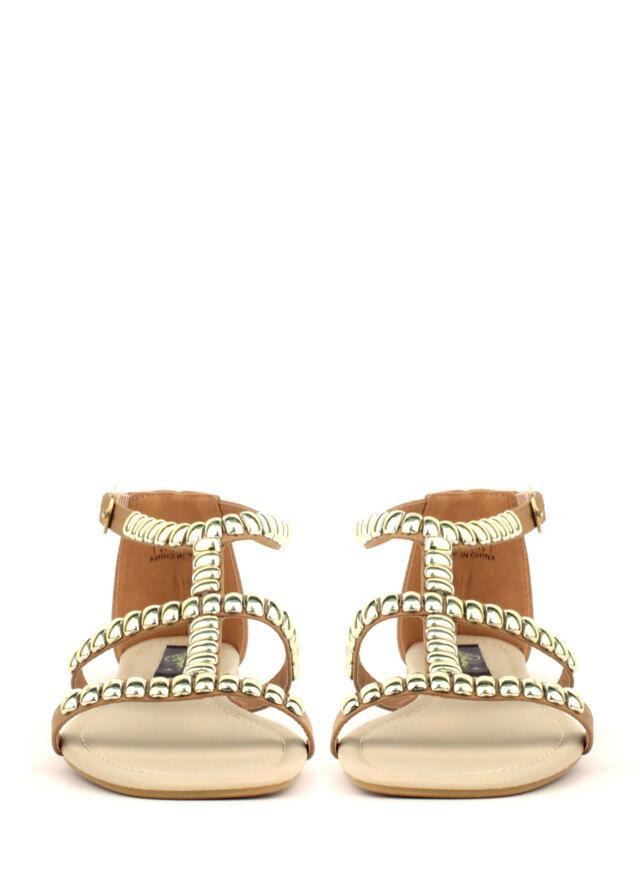 76563ba2ad Béžové kožené sandály Park Lane se zlatými cvoky(4182) - 4. Park Lane Shoes
