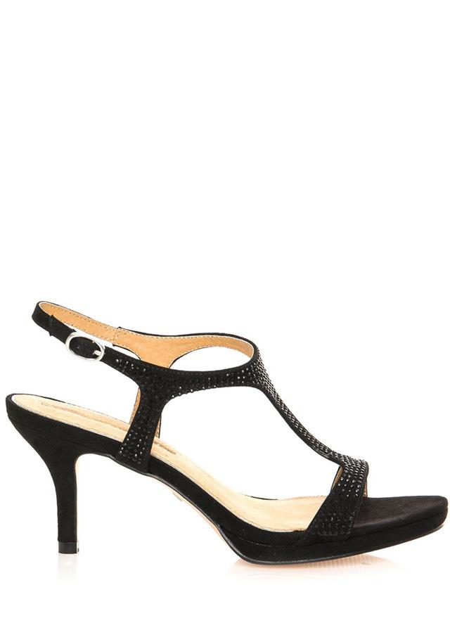 Černé semišové sandály na podpatku MARIA MARE