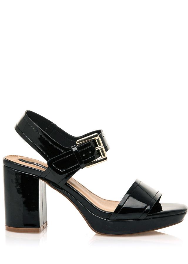 Černé lesklé sandály na širším podpatku MTNG