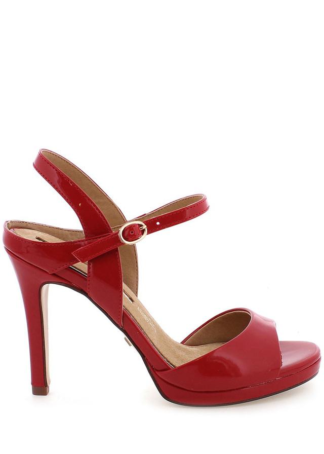 Červené lesklé sandály na podpatku MARIA MARE