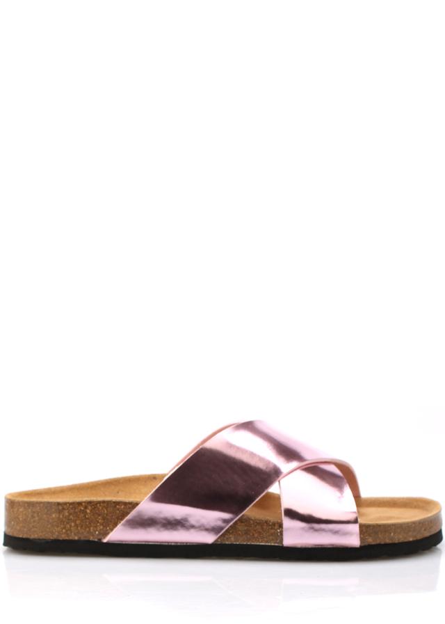 Růžové páskové kožené zdravotní pantofle EMMA Shoes - 37