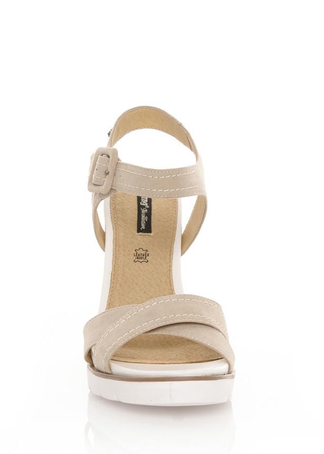 549b0da54748 Béžové sandály na espadrilovém klínku MTNG(102142) - 4