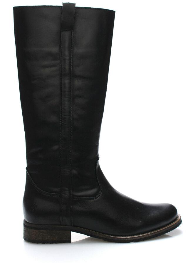Černé kožené nižší kozačky Online Shoes - 42