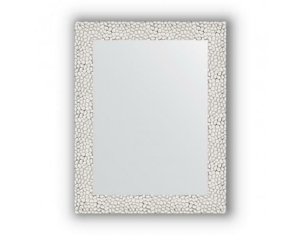 Zrcadlo v rámu, stříbrobílý tepaný reliéf, 51x71 cm