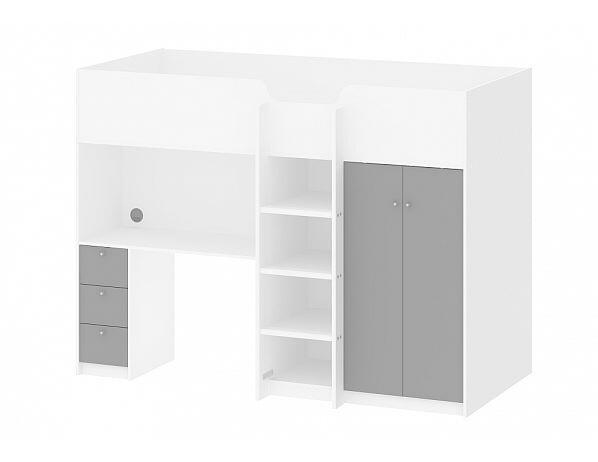 Multifunkční patrová postel Lyon, bílá-šedá