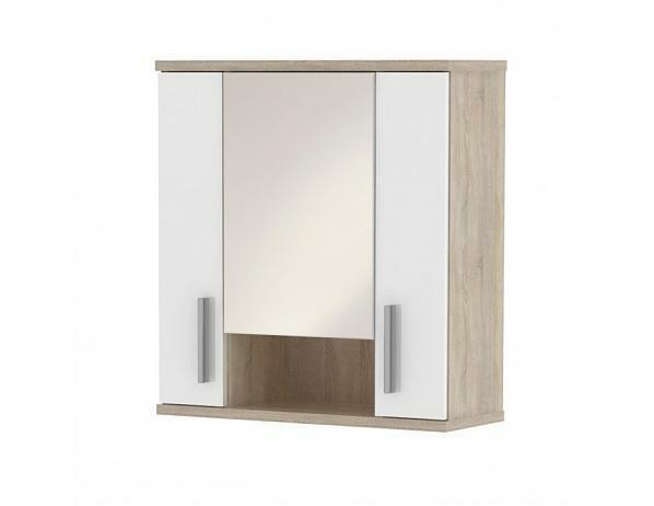 Závěsná skříňka nad umyvadlo Lessy LI 01, dub sonoma/bílá pololesk