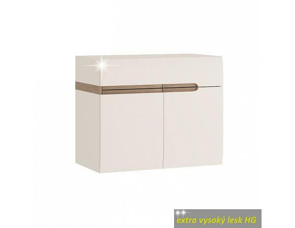 Skříňka s keramickým umyvadlem LYNATET 150, bílá extra vysoký lesk
