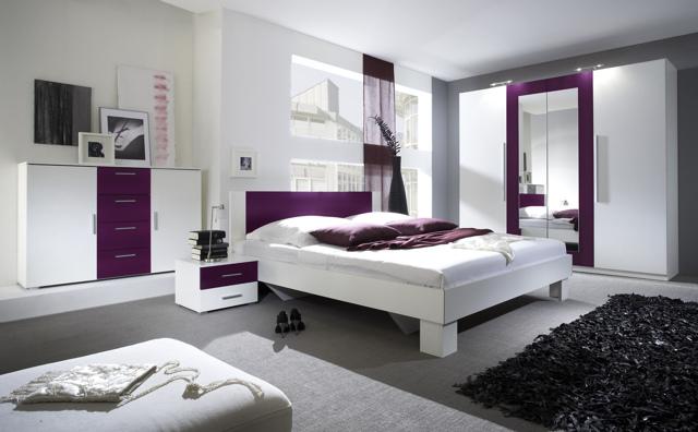 VERA postel 160x200 cm s nočními stolky, bílá/fialová