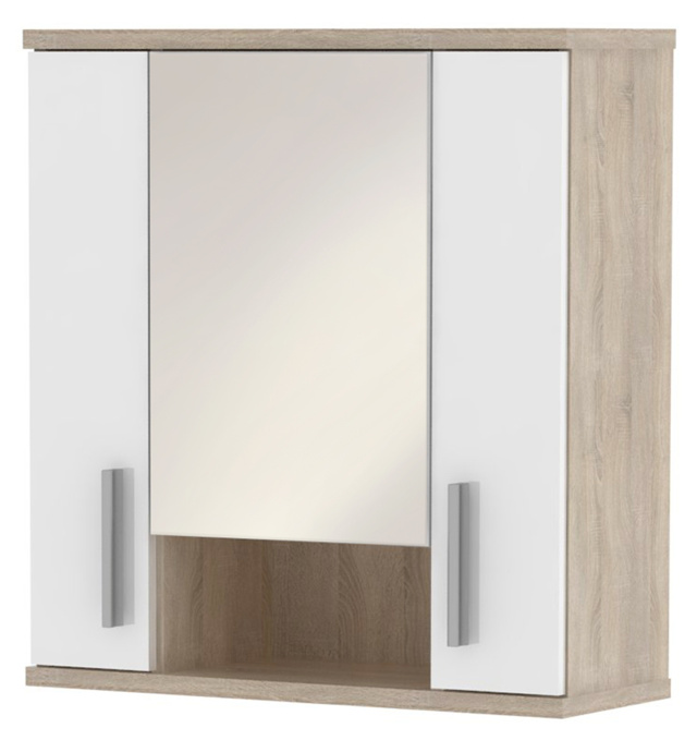 MB Domus LINNDA, skříňka horní LI01 se zrcadlem, dub sonoma/bílý lesk