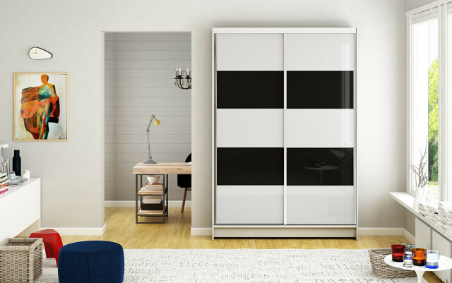 Smartshop Šatní skříň MONTANA IV, bílý mat/bílé sklo+černé sklo