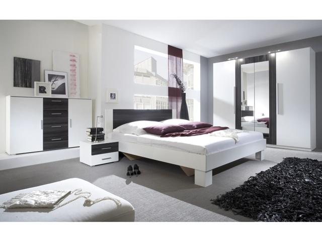 Smartshop VIERA ložnice s postelí 160x200, bílá/ořech černý