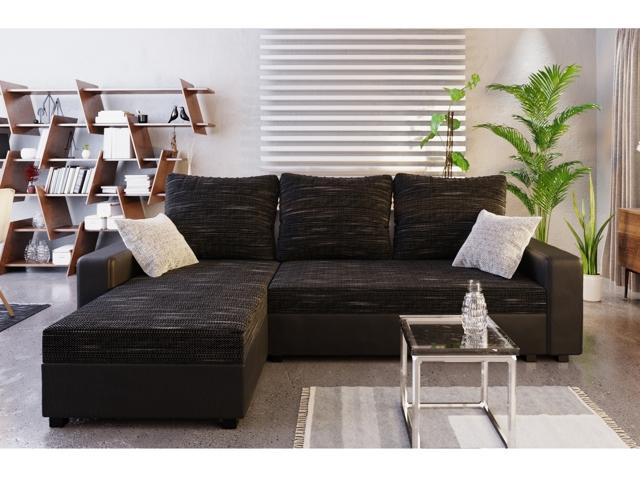Rohová sedačka TRIPOLIS U, černá látka/černá ekokůže