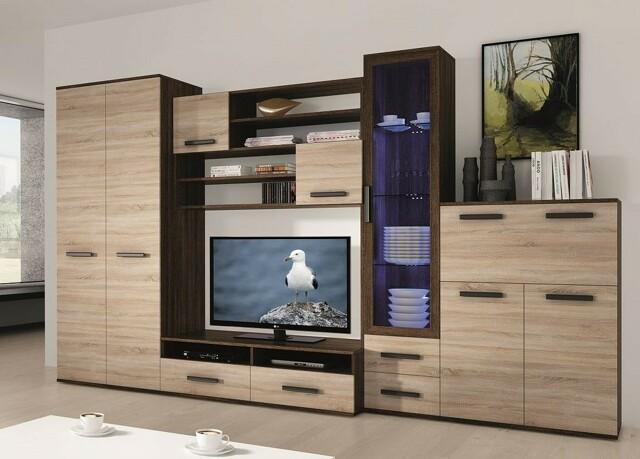 Smartshop ORYON, obývací stěna, wenge/dub sonoma včetně LED