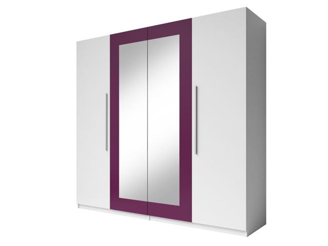 Smartshop VERA skříň se zrcadlem, bílá/fialová
