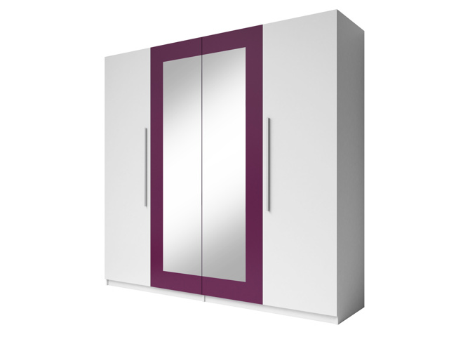 Smartshop VIERA skříň se zrcadlem, bílá/fialová