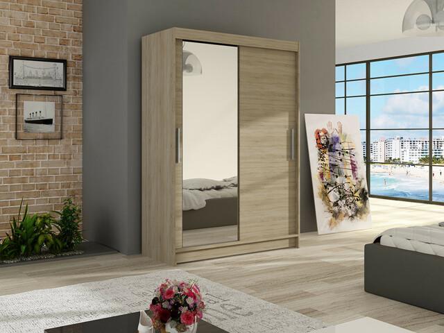 Šatní skříň MIAMI VI, sonoma/zrcadlo