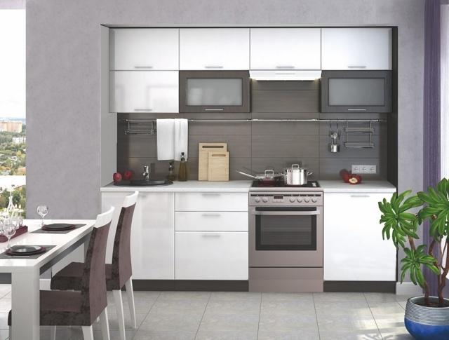 Smartshop Kuchyně VIALERIA 180/240 cm bez pracovní desky, wenge/bílý lesk
