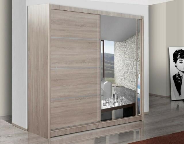 Smartshop Šatní skříň s posuvnými dveřmi WISTA 180, dub sonoma