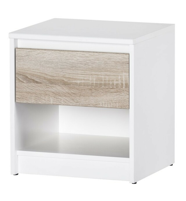 SZYNAKA VENECIA II, noční stolek, dub sonoma/bílá
