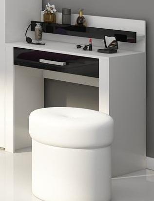 MORAVIA FLAT VIKY, toaletní stolek, bílá/černý lesk, (šxvxhl): 80x94x42 cm