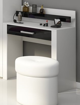 VIKY, toaletní stolek, bílá/černý lesk