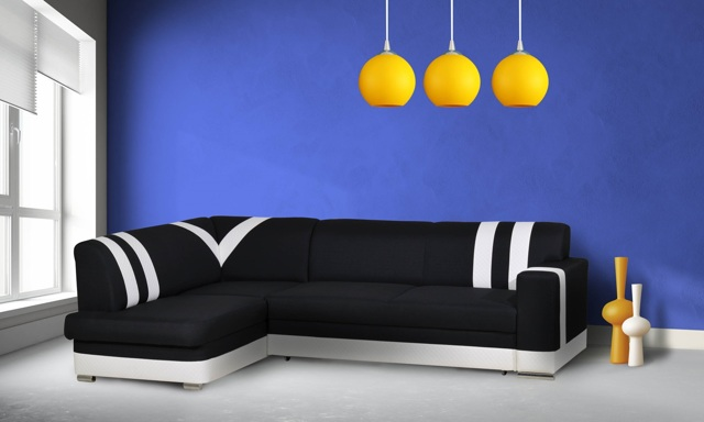 Rohová sedačka KONGO levá, látka černá/bílá ekokůže